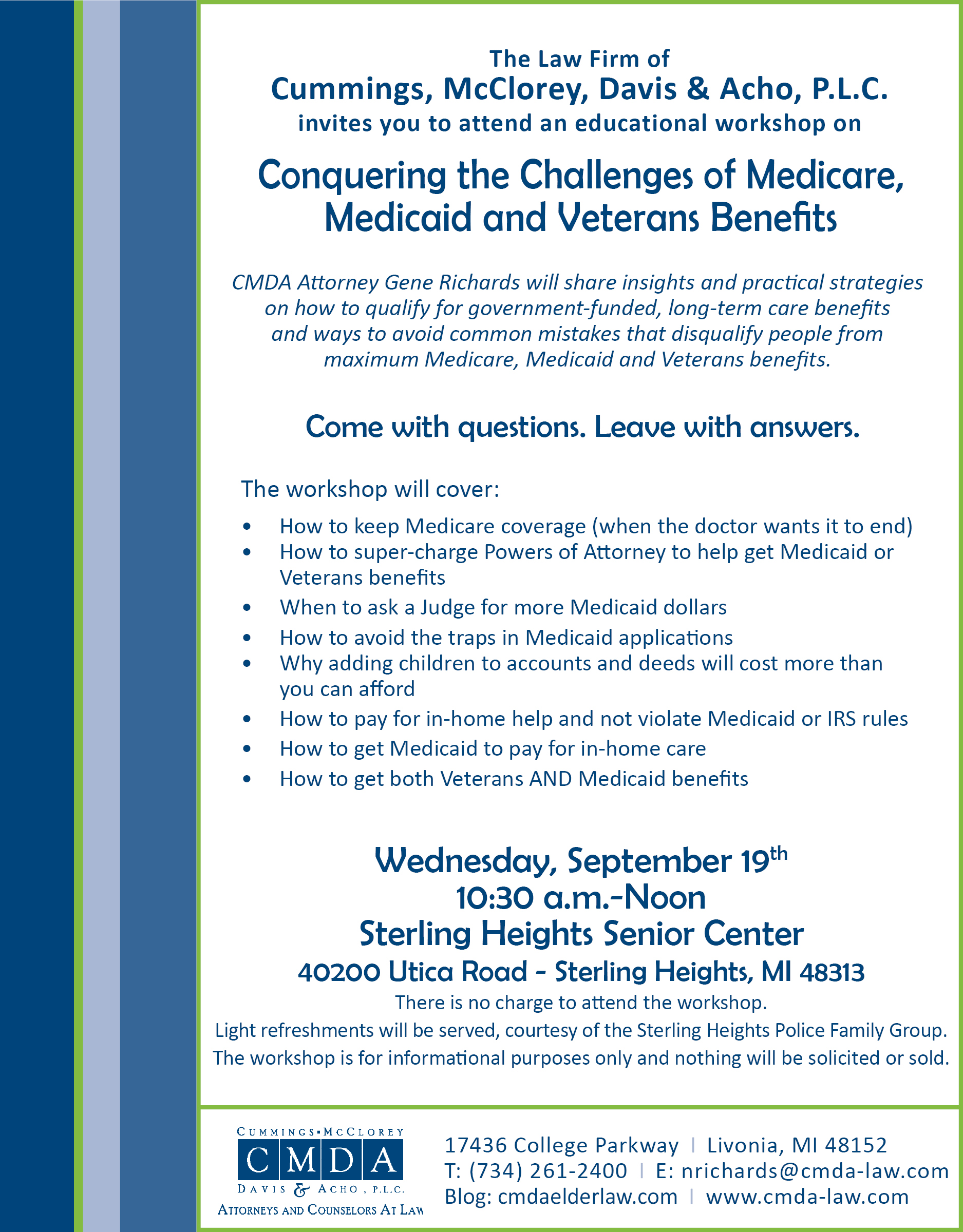 CMDA Conquering the Challenges Seminar Flyer 9.19