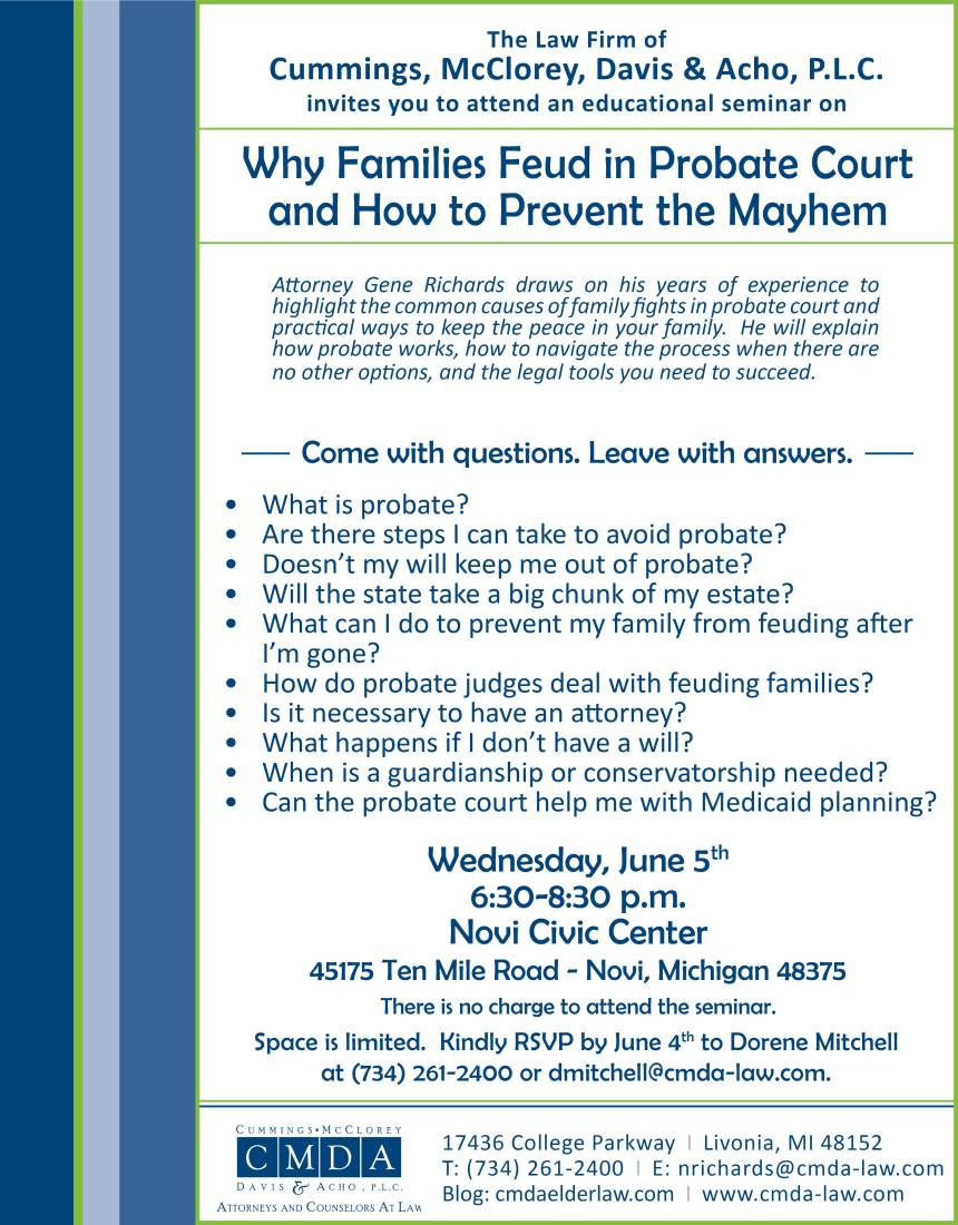 Why Families Feud in Probate Invite 6.5.19
